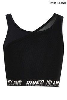 River Island Black Double Layer Sports Crop Top