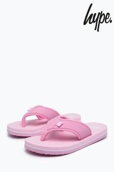 Hype. Pink Script Kids Foam Flip Flops