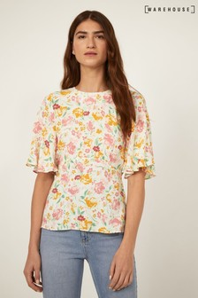 Warehouse Natural Floral Angel Sleeve Top