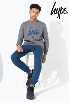 Hype. Charcoal Sweatshirt And Navy Jogger Kids Set