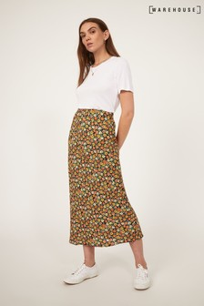 Warehouse Black Livia Daisy Bias Cut Skirt