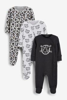 3 Pack Slogan Sleepsuits (0mths-2yrs)