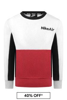 Boys White & Red Cotton Air Sweatshirt