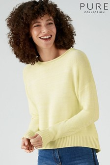 Pure Collection Yellow Cotton Dipped Hem Textured Sweater