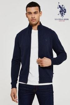U.S. Polo Assn. Blue Full Zip Funnel Neck Sweater