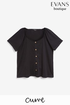 Evans Curve Black Button Detail Square Neck Top