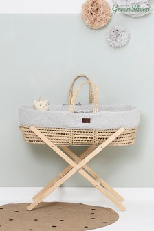 The Little Green Sheep Grey Quilted Moses Basket Dove Rice