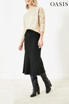 Oasis Black Rib Bias Cut Skirt