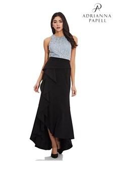 Adrianna Papell Black Crepe Cascade Skirt