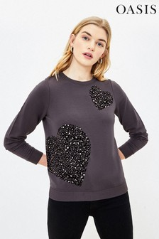 Oasis Grey Animal Flocked Heart Sweater