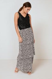 Plisse Tiered Midi Skirt