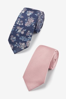Plain And Floral Two Pack Ties With Tie Clip