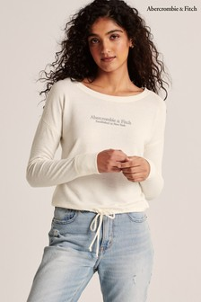 Abercrombie & Fitch White Long Sleeve Tie T-Shirt