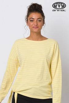 Animal Yellow Street Stripes Long Sleeve Knot Front T-Shirt