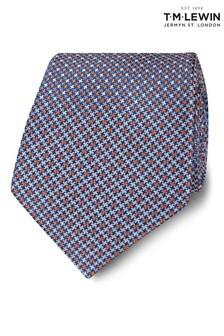 T.M. Lewin Wide Blue And Orange Puppytooth Silk Tie