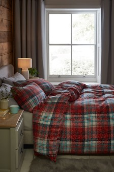Brushed 100% Cotton Snowy Red Check Duvet Cover and Pillowcase Set