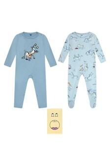 Baby Boys Blue Horses Doodles Babygrow Set