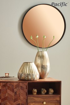 Matt Black Wood Round Mirror With Copper Glass Wall Mirror by Pacific