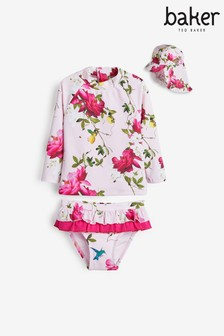 Baker by Ted Baker Baby Girls Floral 3 Piece Sunsafe Set