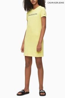 Calvin Klein Yellow Institutional Logo T-Shirt Dress