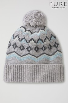 Pure Collection Grey Cashmere Lofty Fairisle Pattern Pom Hat
