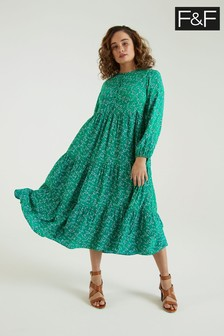 F&F Green Dandelion Print Maxi Tier Dress