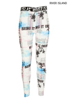 River Island White Tropical Print Leggings