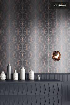 Muriva Grey Kayla Metallic Geo Wallpaper