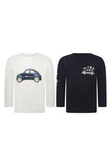 Baby Boys White Cotton T-Shirt Set