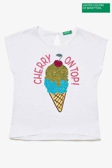 Benetton White Ice Cream T-Shirt