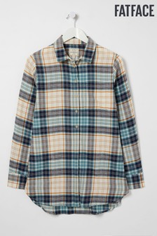 FatFace Blue Jane Check Longline Shirt