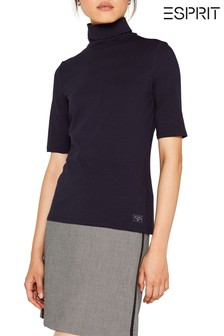 Esprit Blue Stretch Top With Roll Neck