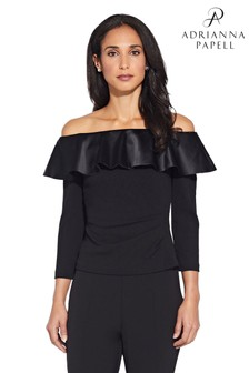 Adrianna Papell Black Charmuese Crepe Top