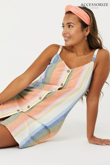 Accessorize Multi Wide Strap Pocket Striped Dress
