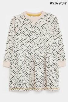 White Stuff Yellow Kids Sally Spot Jersey Sweat Dress