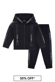 Boys Navy Branded Tracksuit