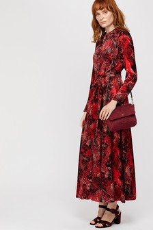 Monsoon Red Synthia Snake Print Shirt Dress