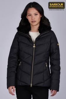 Barbour® International Black Faux Fur Trim Cadwell Padded Wax Jacket