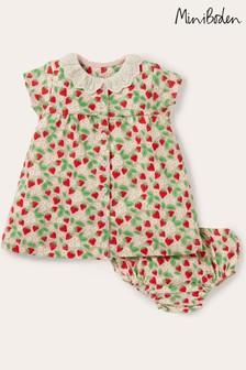 Boden Pink Broderie Collar Jersey Dress