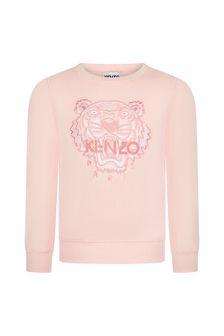 Kenzo Kids Girls Pink Cotton Sweat Top