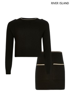 River Island Black Rib With Buttons Skirt Set