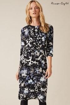 Phase Eight Blue Zina Smudge Print Dress