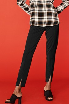 Elastic Back Trim Detail Skinny Trousers