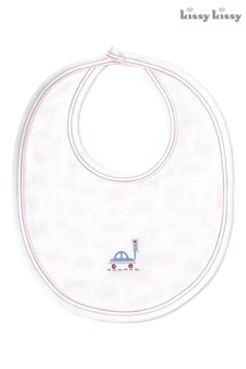 Kissy Kissy White Car Reversible Bib