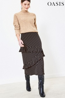 Oasis Black Spot Tiered Midi Skirt
