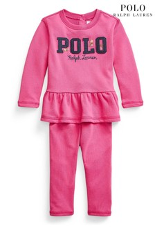 Ralph Lauren Pink Polo Sweatshirt And Leggings Set