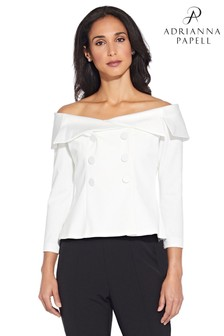 Adrianna Papell White Charmuese Crepe Top