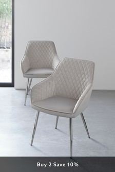 Set of 2 Hamilton Arm Dining Chairs With Chrome Legs