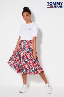 Tommy Jeans Red Americana Pleated Skirt