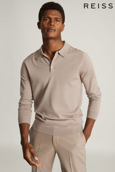 Reiss Tan Trafford Merino Wool Polo Shirt